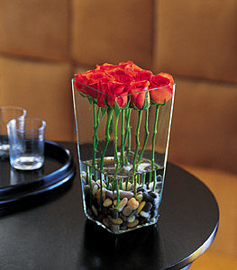 Red Roses with River Rocks